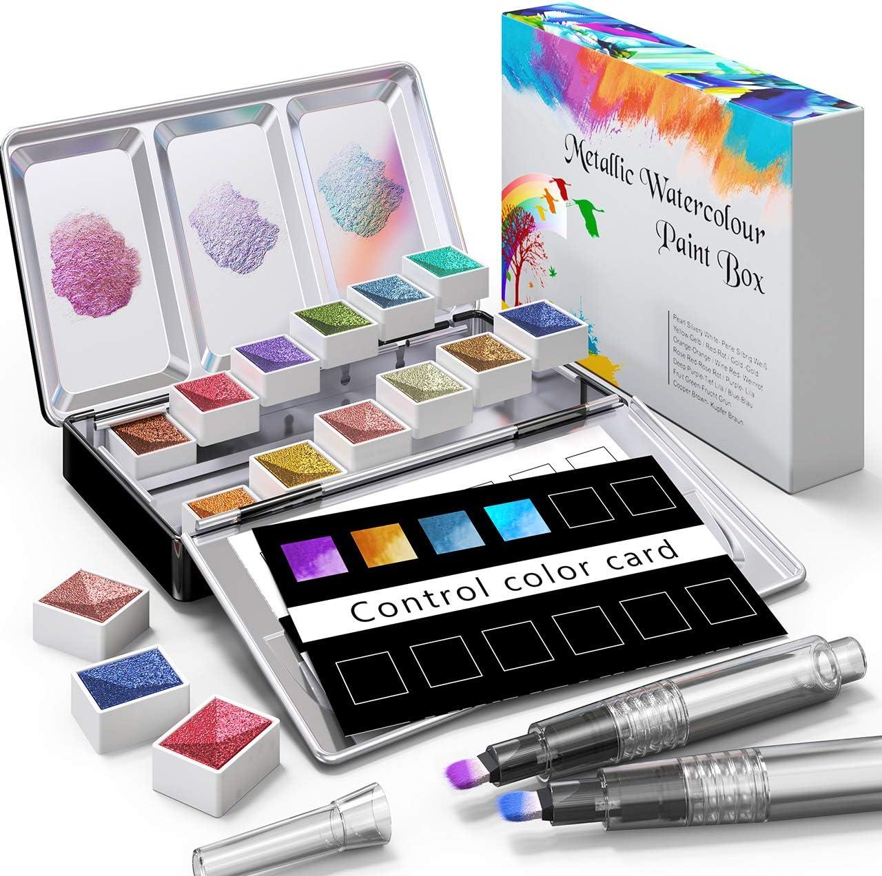 RATEL Conjunto de pintura de acuarela metálica, pintura de acuarela brillante sólida incluye 12 colores metálicos Pigmento sólido + 2 Pincel + 1 tarjeta de color, Pinturas y mezcla bien acuarela