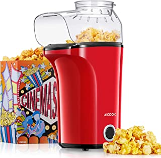AICOOK Machine à Pop Corn, 1200W Retro Machine à Popcorn avec Air Chaud, Sans Gras Huile, Facile á L'utilisation, Rouge [C...