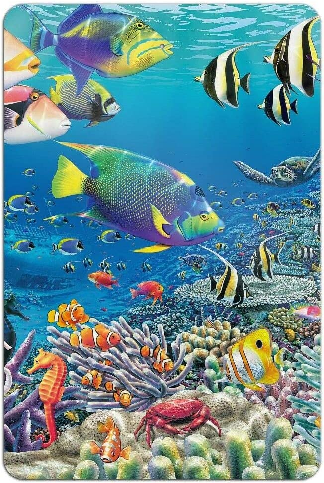 Vintage Metal Tin Sign Ocean Coral Reef Angel Fish Home Bar Kitchen Wall Decor Hanging Signs 12X8Inch