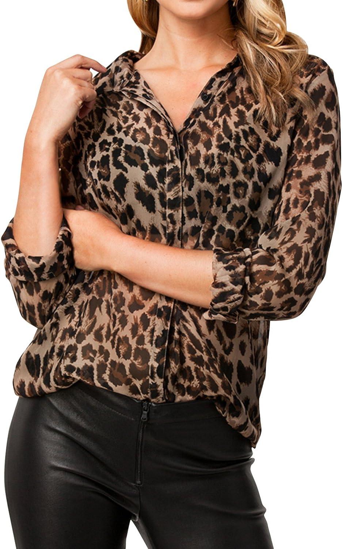 Laemilia Damen Langarmshirt Casual V Ausschnitt Bluse Oberteile 3d Aufdruck Leopard Print Tunika Luftig Freizeithemd Business Street Wear Amazon De Bekleidung