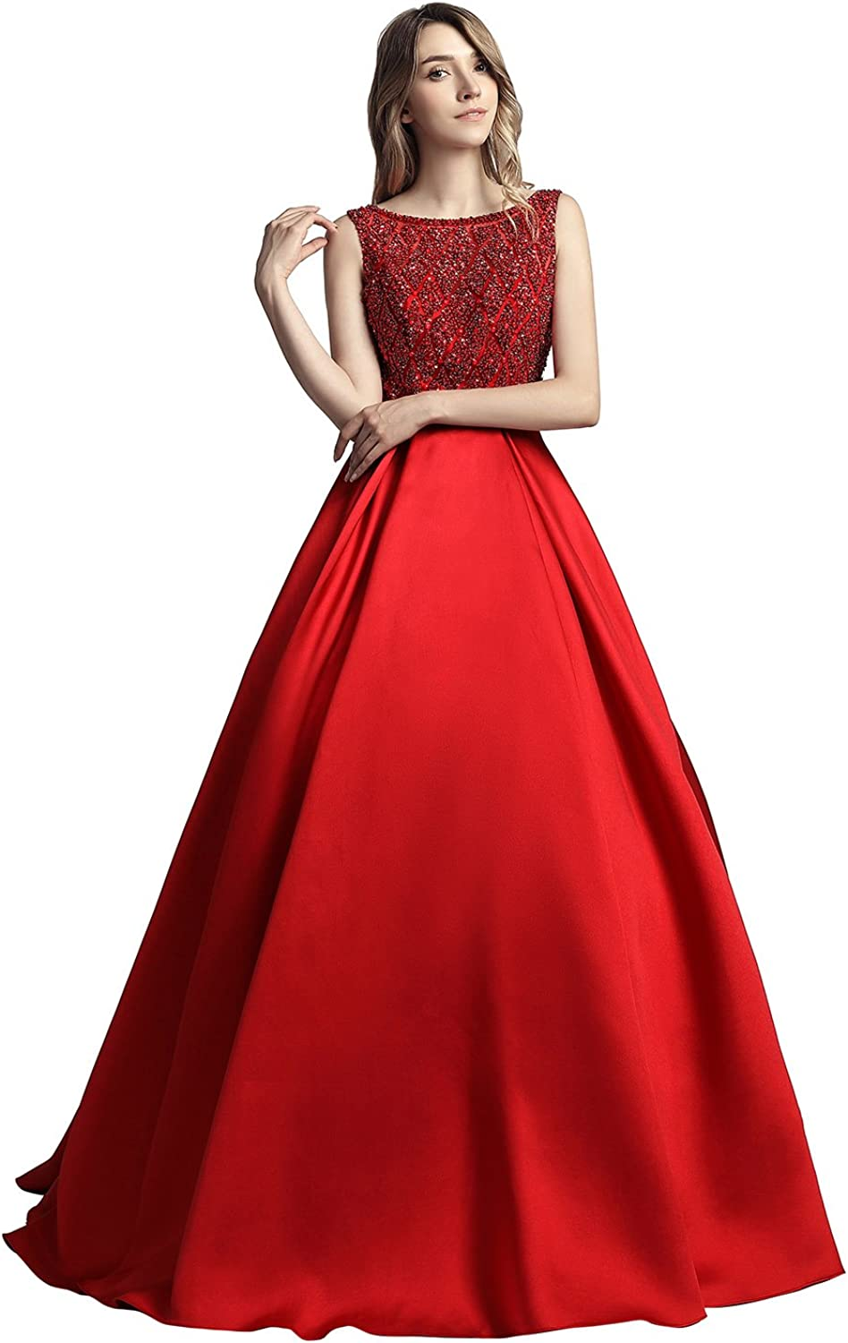 Belle House Prom Dresses 2018 Long for Women Satin Evening Gown with Beading and Sequins Open Back Ball Gown