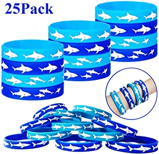 Playstyle Shark Party Favors Rubber Bracelets, Under The Sea/Baby Shark Birthday Party Supplies Gift Decorations Goodie Bag Stuffers Fillers Slicone Wristbands (25 Pcs)
