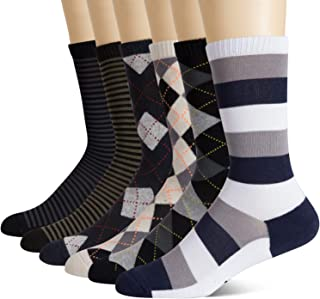 6 Pack Mens Fun Colorful Dress Socks Smell Control Bamboo Crew Socks Novelty Striped Argyle Patterned Casual Socks