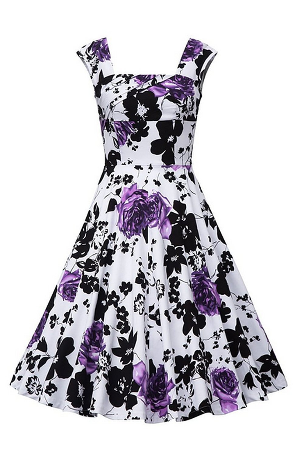 Available at Amazon: MisShow Women's Vintage Sleeveless 1950s Floral Casual Cocktail Dress
