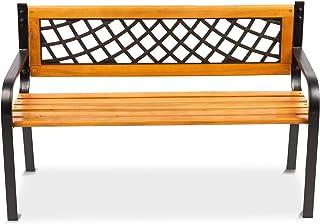 MaxxGarden Tuinbank met rugleuning en armleuningen, zitbank, parkbank, hout en gietijzer, 118 x 50 x 75 cm