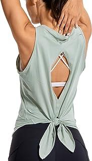CRZ YOGA Women's Workout Sleeveless Shirts Round Neck Yoga Vest Open Back Sport Tank Tops