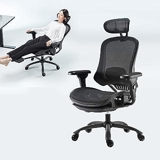 YEATION chair PRO プロ 人間工学 オフィスチェア デスクチェア メッシュ 135度リクライニングチェア オットマン付き 調節可能な腰痛サポート/ヘッドレスト/背もたれ/アームレスト付き ハイバック 社長椅子 ゲーミングチェア ...