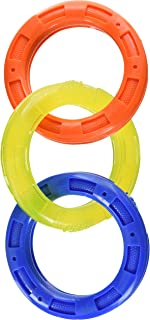 Nerf Dog Multi-Ring Tuff Tug Dog Toy, Lightweight, Durable and Water Resistant, 4 Inch Diameter for Medium/Large Breeds, S...