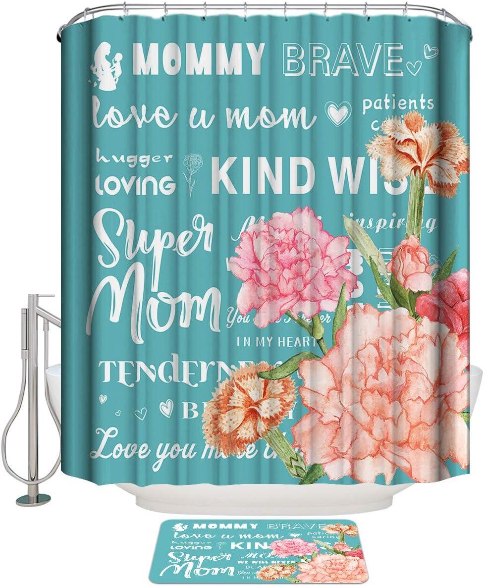 LooPoP 出荷 Turquoise Shower Curtain Set 激安特価品 Bath Mat Thick Rugs Bathroom