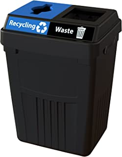 CleanRiver Flex E bin Indoor and Outdoor Sturdy 2-in-1 Waste and Recycling Bin FX50A-BK2-R-BE-W-BK, 50 Gallons, Black
