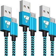 Aione Cable Micro USB [3Pack,2M] Cargador Android Cable Cargador movil Trenzado de Nylon Compatible con Samsung Galaxy A10 S6 S7 J5 J7,Huawei P8 P9 P10 Lite P Smart,Sony,Xiaomi
