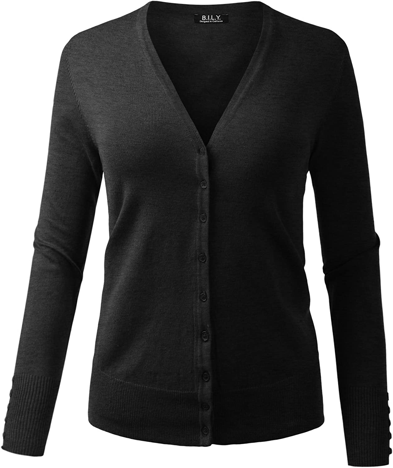 BH B.I.L.Y USA Women's V-Neck Button Down Long Sleeve Classic Knit Cardigan Charcoal Large