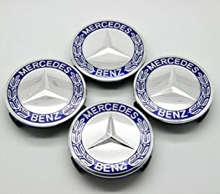 4 Pieces 75mm Dark Blue Center Wheel Hub Caps for Mercedes-Benz,Applicable to All Models