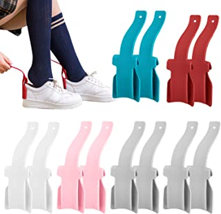 12 Pack Lazy Shoe Horn, Portable Long Handle Shoe Helper Lifting, Easy on & Off Shoes Horns for Most Shoes, Handled Shoeho...