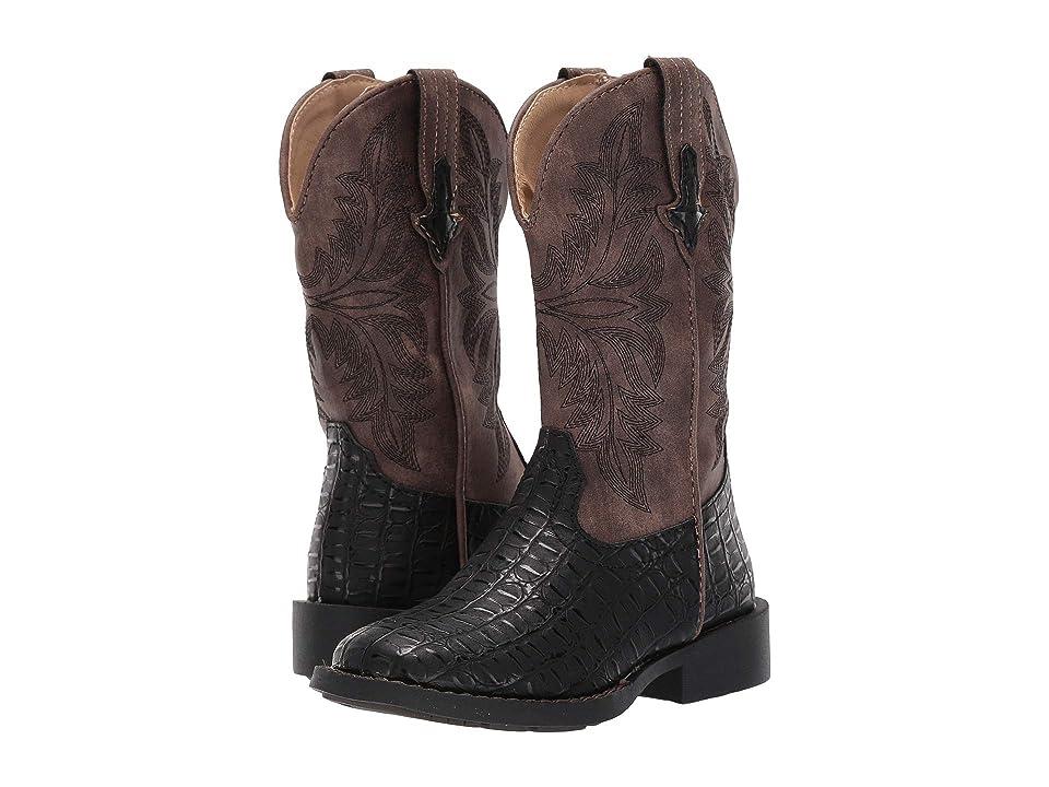 Roper Kids Chomp (Toddler/Little Kid) (Black Faux Caiman Vamp/Vintage Shaft) Cowboy Boots