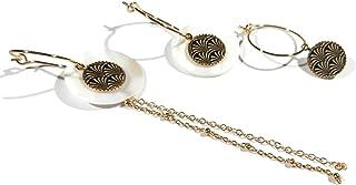 Mini orecchini a cerchio albero ginkgo biloba Giappone oro nero intercambiabile ottone dorato oro 24K resina regali di nat...