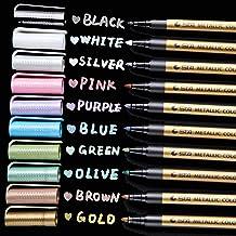 Paint Pen For Rock Paiting, Metallic Marker Pens Fine Tip, Ohuhu Set of 10 Glitter Paint Pen Window Marker for DIY Card Ma...