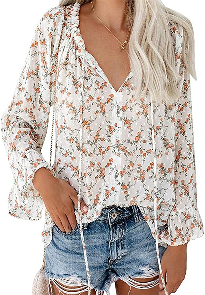 ZOCANIA Women Long Sleeve Tunic Tops Button Down Chiffon Shirts Floral Printed/Solid Henley V Neck Blouses(S-XXL)