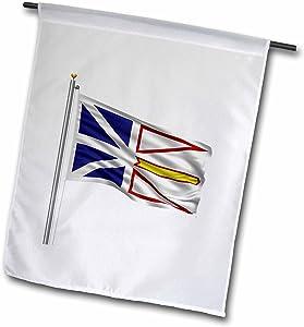 3dRose Flag of Newfoundland On A Flag Pole Over White Newfoundlander - Garden Flag, 12 by 18