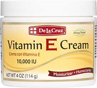 De La Cruz Vitamin E Cream 10,000 IU, Allergy Tested, No Artificial Colors, Made in USA 4 OZ.