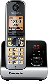 Panasonic 松下无绳电话(4.6厘米(1.8英寸)显示屏,智能按钮,免提,答录机) 黑色/银白色 Single