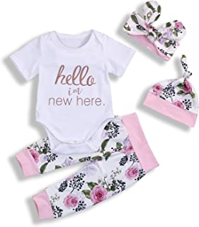 Hello I'm New Here Newborn Infant Baby Girl Floral Outfits Short Sleeve 4Pcs Clothes Set