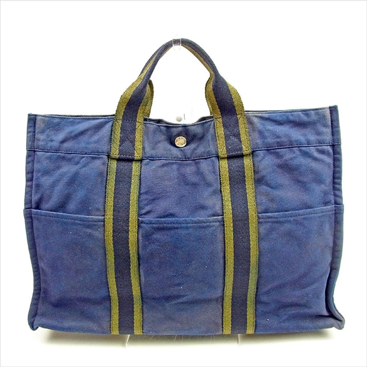 軽半径ジャケット(エルメス) Hermès トートバッグ ハンドバッグ ネイビー×グリーン トートMM フールトゥ メンズ可 中古 T398