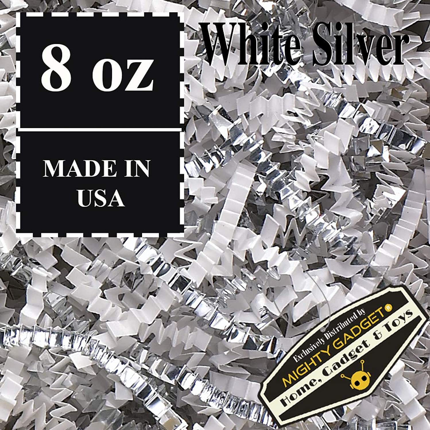 Mighty Gadget (R) 1/2 LB Premium White Silver Metallic Mix Crinkle Cut Paper Shred Filler for Gift Wrapping & Basket Filling