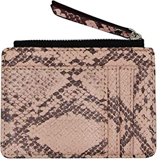 Snakeskin Small Coin Purse Leather Pocket Wallet Card Holder Change Pouch with Zipper for Women Girl