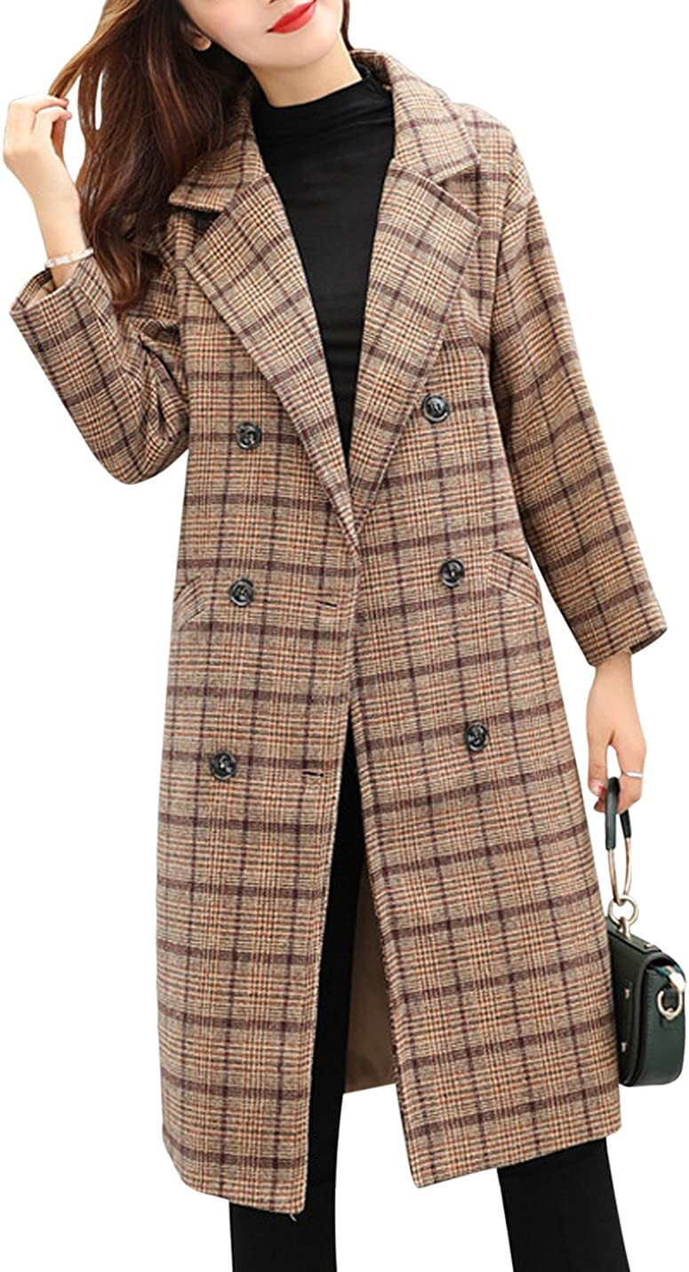 Tanming Women's Double Breasted Long Plaid Wool Blend Pea Coat Outerwear