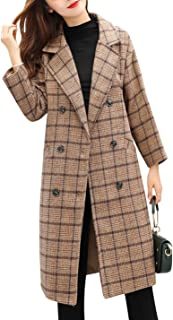 Women's Double Breasted Long Plaid Wool Blend Pea Coat Outerwear