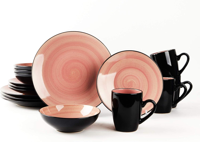 HomeVss 日本全国 送料無料 Sonoma Stoneware 16pc Dinnerware Outside タイムセール Black Set I +