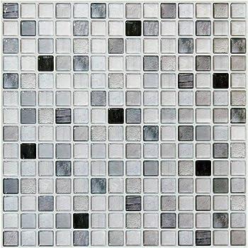 【 Dream Sticker 】 モザイクタイルシール キッチン 洗面所 トイレの模様替えに最適のDIY 壁紙デコレーション BST (モノクロ, 1枚)