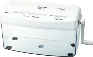 $34 » Nakabayashi Co,Ltd 3 Ways Manual Shredder for Paper&Card&CD/DVD,One Piece of Letter Size/A4 Size,Capacity of 3.3L(White)