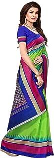 Pakistaniart Silk Kalamkari and Bhagalpuri Style Saree with Blouse Piece BELA Green