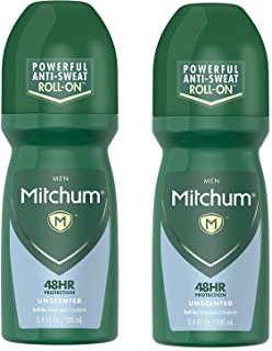 Mitchum Roll-On Anti-Perspirant and Deodorant for Men   Powerful Anti-Sweat   Unscented 3.4 Oz (Pack of 2)