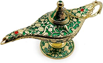 AVESON Luxury Classic Vintage Aladdin Magic Genie Costume Lamp Home Table Decoration & Gift Golden Green