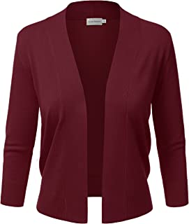 Women's Basic 3/4 Sleeve Open Front Cropped Cardigan