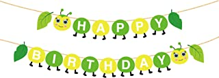 CC HOME Caterpillar Party Supplies, Worm Caterpillar Happy Birthday Banner/Caterpillar Birthday Banner/Summer Tropical Green Leaves Worm Garland Bunting Banner Birthday Party Supplies Decorations,Party Favor for Worm Theme Baby Shower ,.Birthday Party Supplies