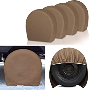 RV Tire Covers Set of 4 Pack - 29'' to 31.75'' Auto Wheel Protector for Trailer Camper Motorhome, 600D Heavy Duty Oxford W...
