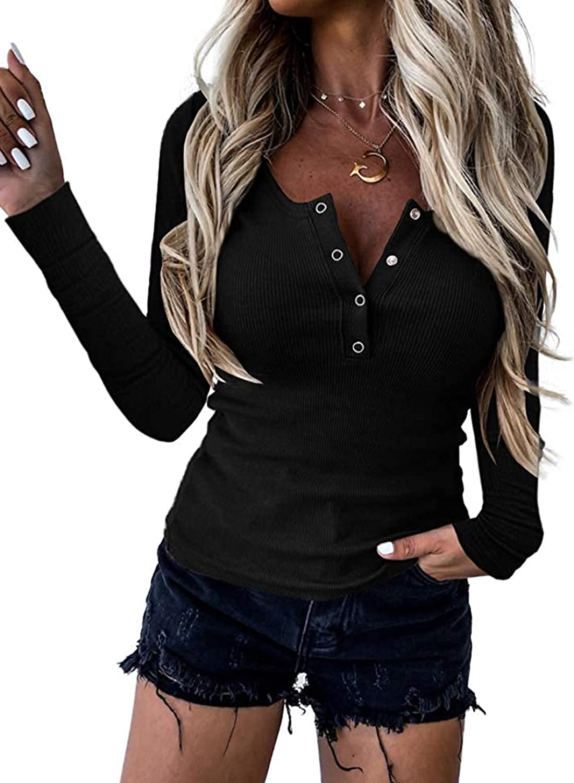 Zecilbo Womens Scoop Neck Button Down Long Sleeve Henley T Shirts for Women Fashion 2021 Top Tunics Black, Large