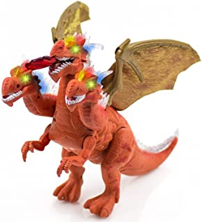 Toysery Walking Three Heads Dinosaurs Electronic Pet Doing Color:(Green/Orange Colors May Vary)