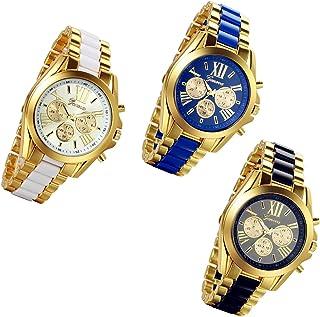 Lancardo Luxury Men Stainless Steel Gold Dial Quartz Analog Bangle Wrist Watch with 3 Sub-Dials