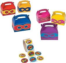 24 - Superhero Boys and Girls Party Favors Treat Boxes with Superhero Stickers Theme Birthday Set