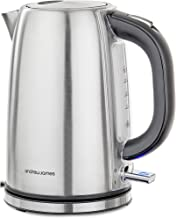 Andrew James Argentum Electric Kettle Stainless Steel Cordless Silver Jug Kettle | Quiet Rapid Boil 3KW 1.7L Capacity | Flip Top Lid & Swivel Base | Illuminated Power Switch | Boil Dry Protection
