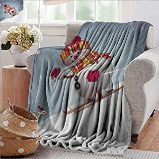 PearlRolan Outdoor Blanket,Snowman,Skiing Snowman in 3D Style with Ornate Snowflakes Winter Outdoors Activity Fun,Multicolor,300GSM,Super Soft and Warm,Durable Throw Blanket 30