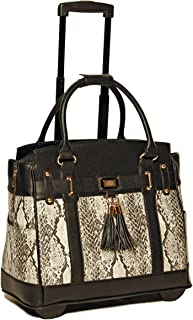 JKM and Company Firenze Python and Black Compatible with Computer iPad, Laptop Tablet Rolling Tote Bag Briefcase Carryall Bag