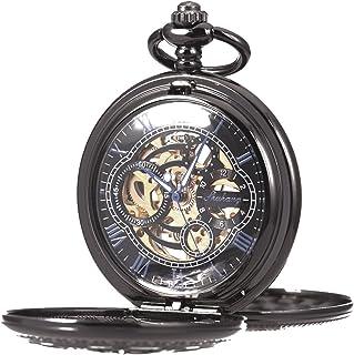 Pocket Watch Skeleton Mechanical Double Case Hand-Wind SIBOSUN Roman Numerals Antique Chain Mens