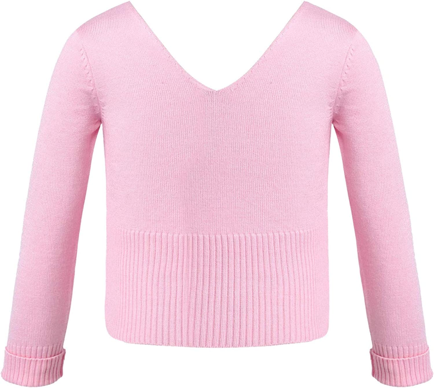 Doomiva Kids Girls Classic Ballet Wrap Top with Thumb Hole Knit Sweater Winter Warm Long Sleeves Dance Cardigan Pink V Neck 6