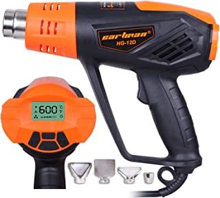CARTMAN Heat Gun, 1500W Hot Air Gun with Large LCD Display, Variable Temp Memory Settings and Wind Speed Adjustment, 120V 60Hz Electric Heat Gun With 4 Nozzles